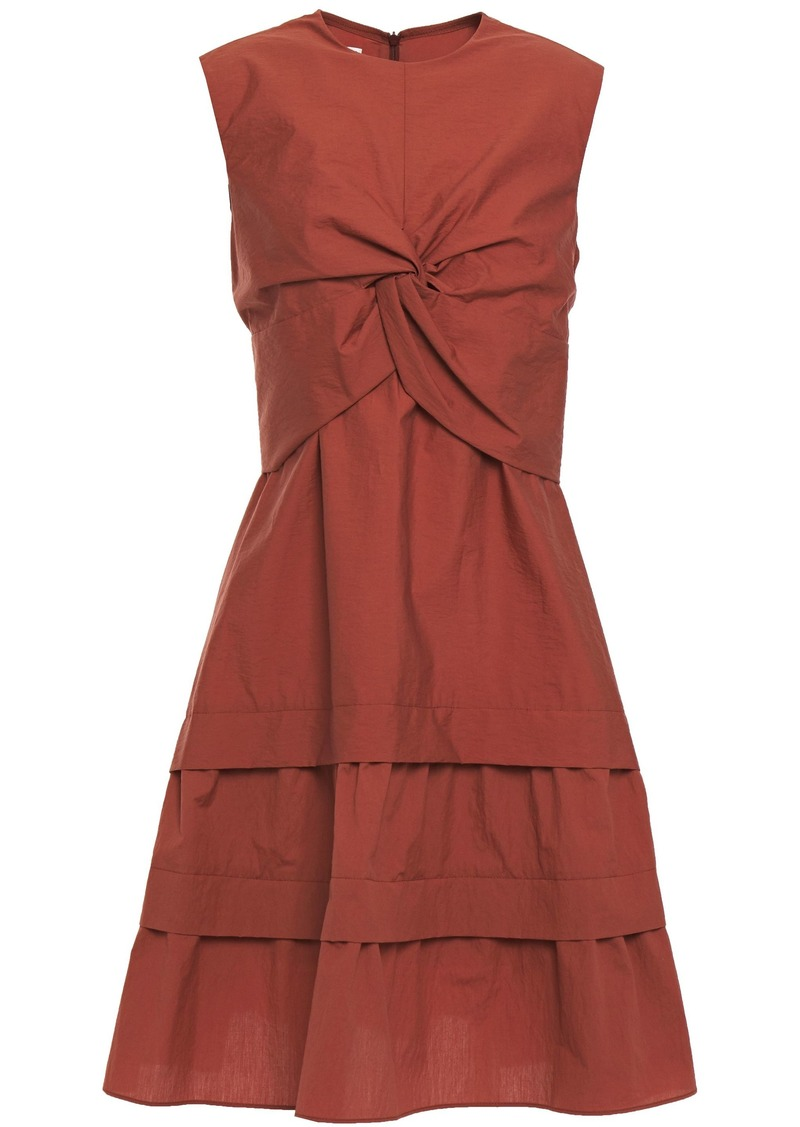 Brunello Cucinelli Woman Tiered Twist-front Crinkled Cotton-blend Dress Brick