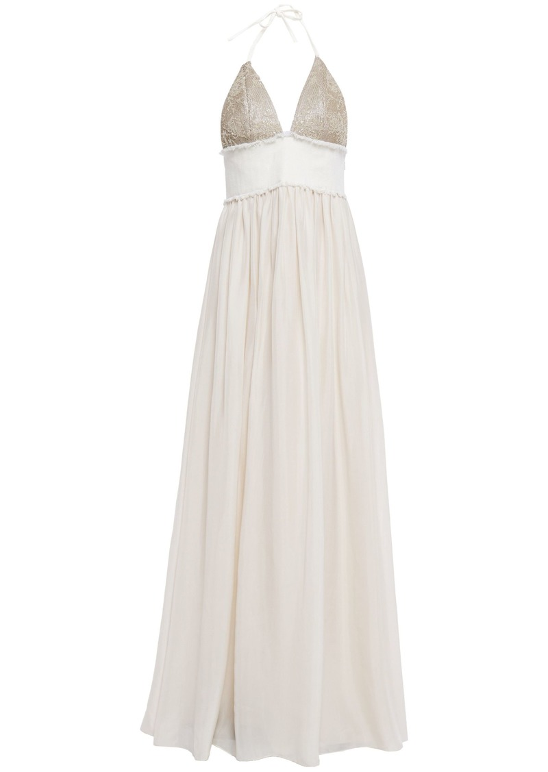 Brunello Cucinelli Woman Twill-paneled Embellished Silk Halterneck Gown Beige