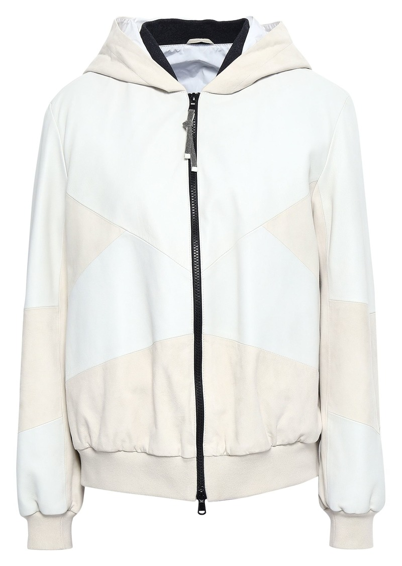 Brunello Cucinelli Woman Two-tone Leather Hooded Jacket Off-white