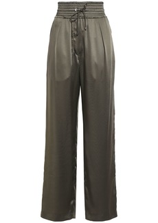 Brunello Cucinelli Woman Velvet-trimmed Shirred Satin Wide-leg Pants Army Green