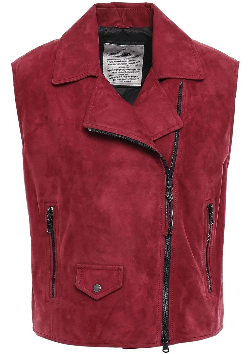 Brunello Cucinelli Woman Bead-embellished Suede Vest Crimson