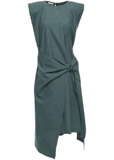 Brunello Cucinelli Woman Wrap-effect Crinkled Cotton-blend Poplin Dress Emerald