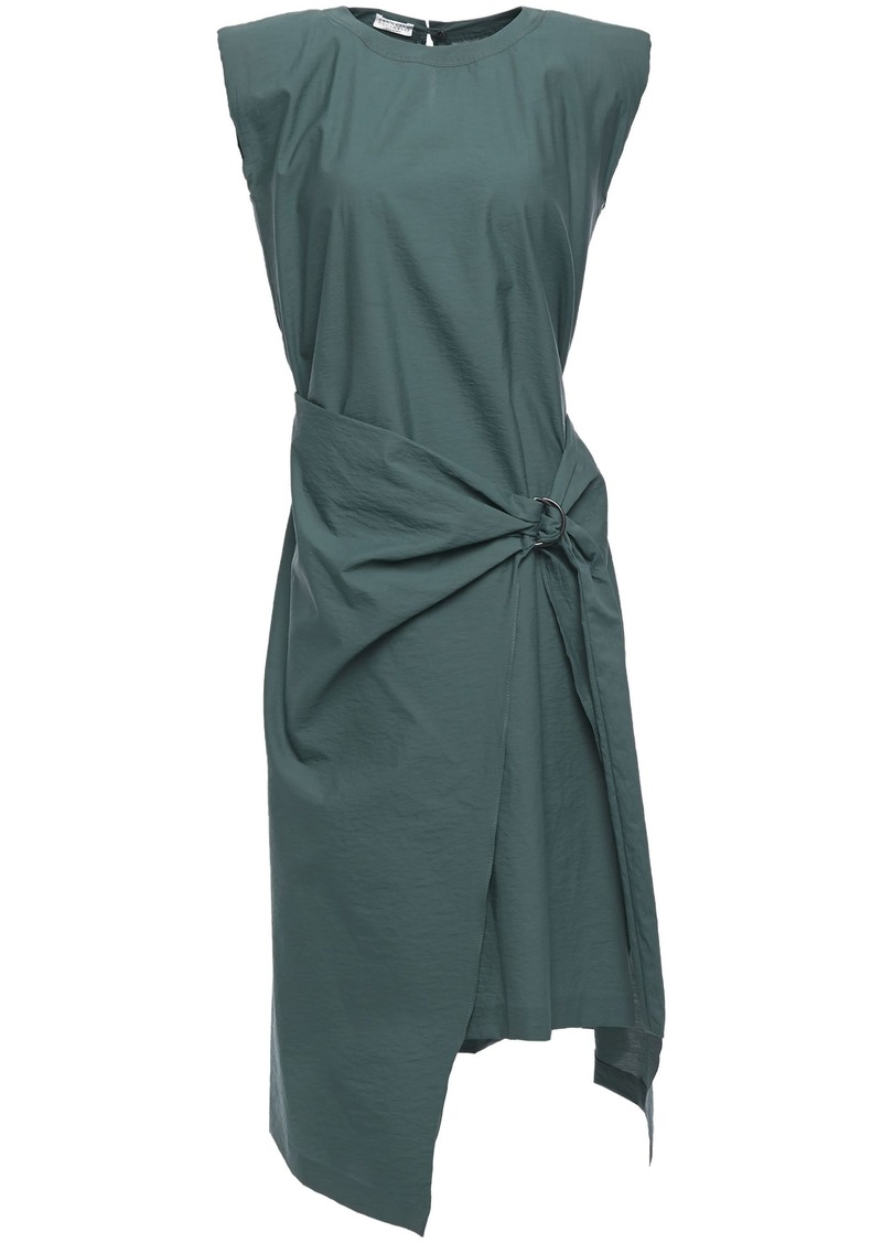 Brunello Cucinelli Woman Wrap-effect Crinkled Cotton-blend Poplin Dress Emerald