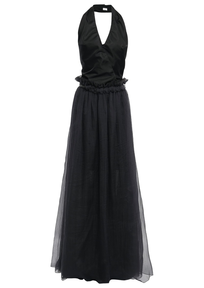 Brunello Cucinelli Woman Wrap-effect Cutout Satin-paneled Bead-embellished Tulle Gown Black