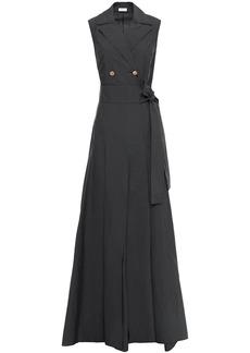 Brunello Cucinelli Woman Wrap-effect Pleated Cotton-blend Poplin Gown Charcoal