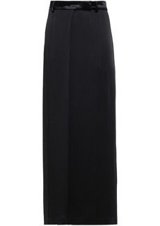 Brunello Cucinelli Woman Wrap-effect Satin-crepe Maxi Skirt Black