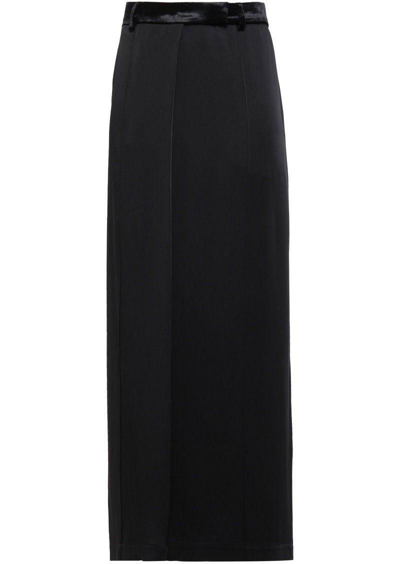 Brunello Cucinelli Woman Wrap-effect Satin-crepe Maxi Skirt Black
