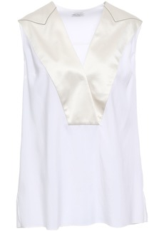 Brunello Cucinelli Woman Wrap-effect Satin-trimmed Stretch-silk Blouse Ivory