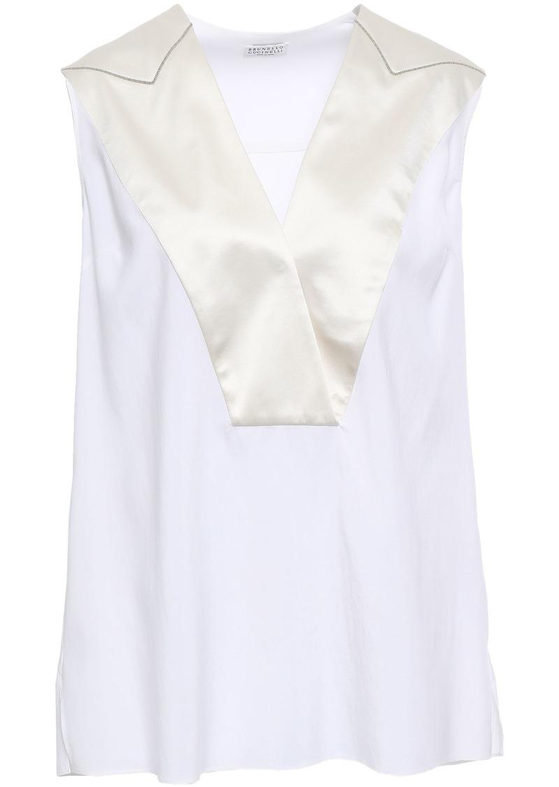 Brunello Cucinelli Woman Wrap-effect Satin-trimmed Stretch-silk Blouse White