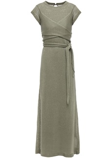Brunello Cucinelli Woman Wrap-effect Sequin-embellished Linen And Silk-blend Maxi Dress Army Green