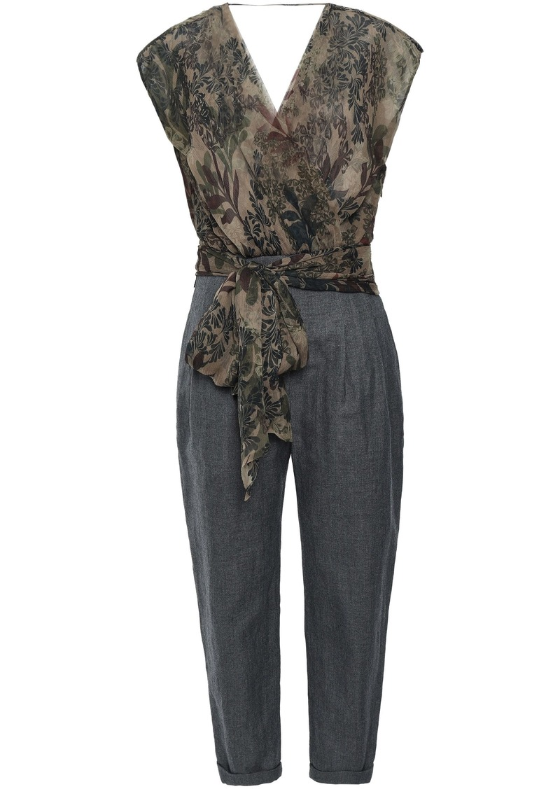Brunello Cucinelli Woman Wrap-effect Silk-georgette And Herringbone Woven Jumpsuit Taupe