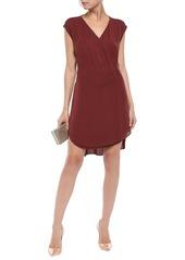 Brunello Cucinelli Woman Wrap-effect Silk-georgette Mini Dress Burgundy