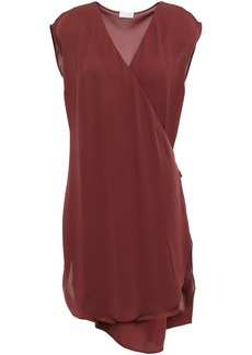 Brunello Cucinelli Woman Wrap-effect Silk-georgette Mini Dress Burgundy
