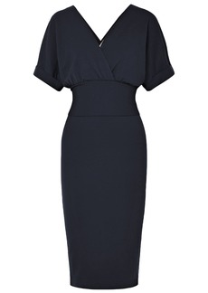 Brunello Cucinelli Woman Wrap-effect Tie-front Stretch-wool Dress Navy