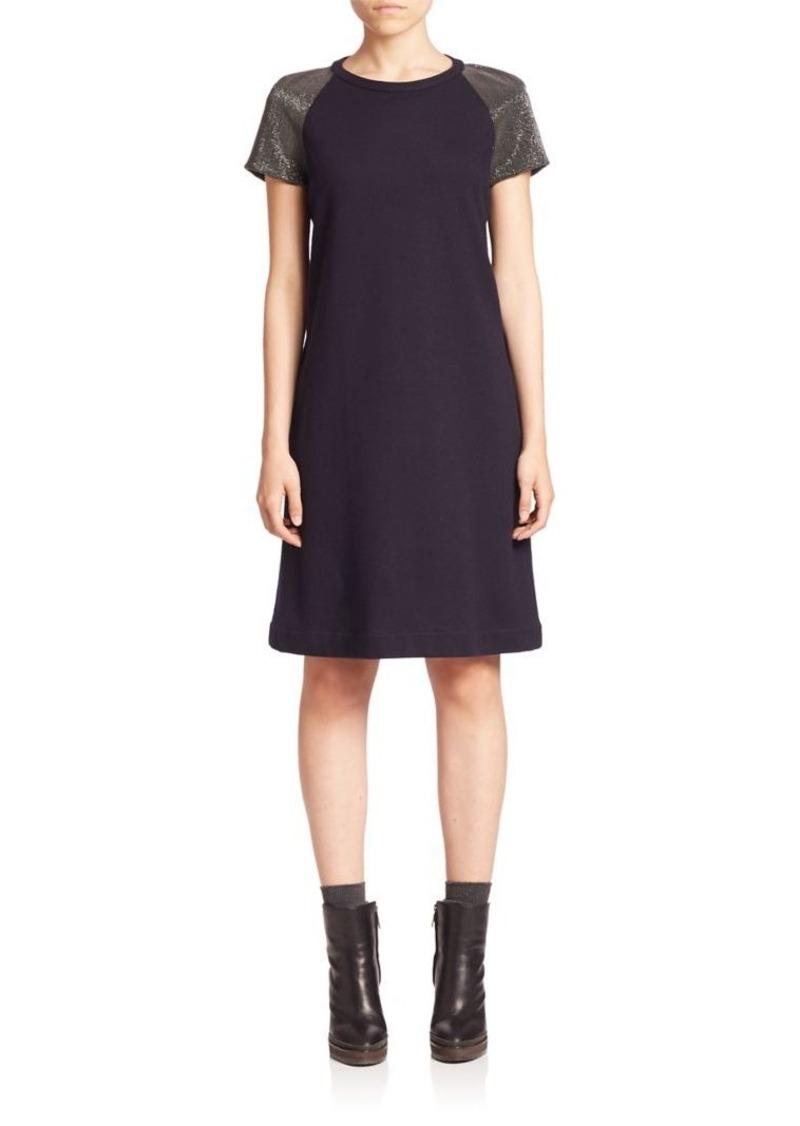 Brunello Cucinelli Wool & Cotton Monili Embellished Shift Dress