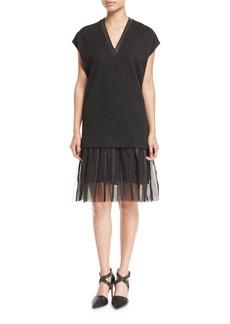 Brunello Cucinelli Wool-Cotton Cap-Sleeve Dress with Lurex® Hem