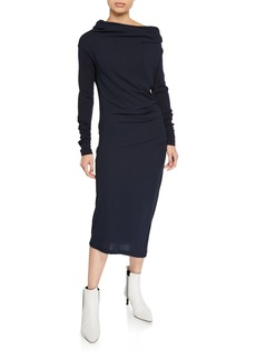 Brunello Cucinelli Wool Jersey Long-Sleeve Dress
