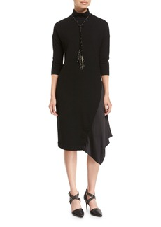 Brunello Cucinelli Wool Jersey Mock-Neck Dress with Satin Inset