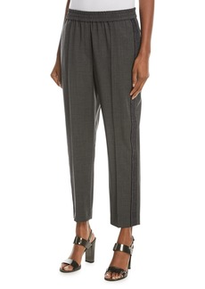 Brunello Cucinelli Wool Pull-On Pants with Denim and Monili Racing Stripe