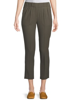 Brunello Cucinelli Wool-Viscose Pull-On Cropped Pants