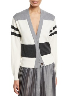 Brunello Cucinelli Wool/Cashmere Colorblock Stripe Cardigan