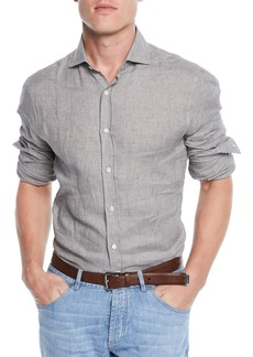Brunello Cucinelli Woven Linen Button-Front Shirt