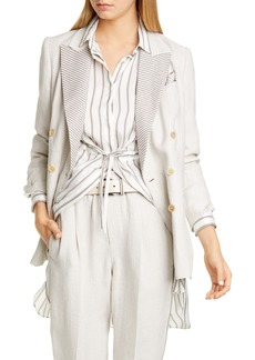 Brunello Cucinelli Brunello Cucinello Beaded Lapel Linen Blazer