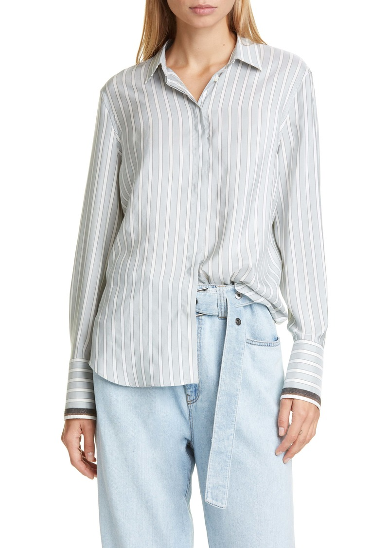 Brunello Cucinelli Brunello Cucinello Monili Cuff Stripe Silk Shirt