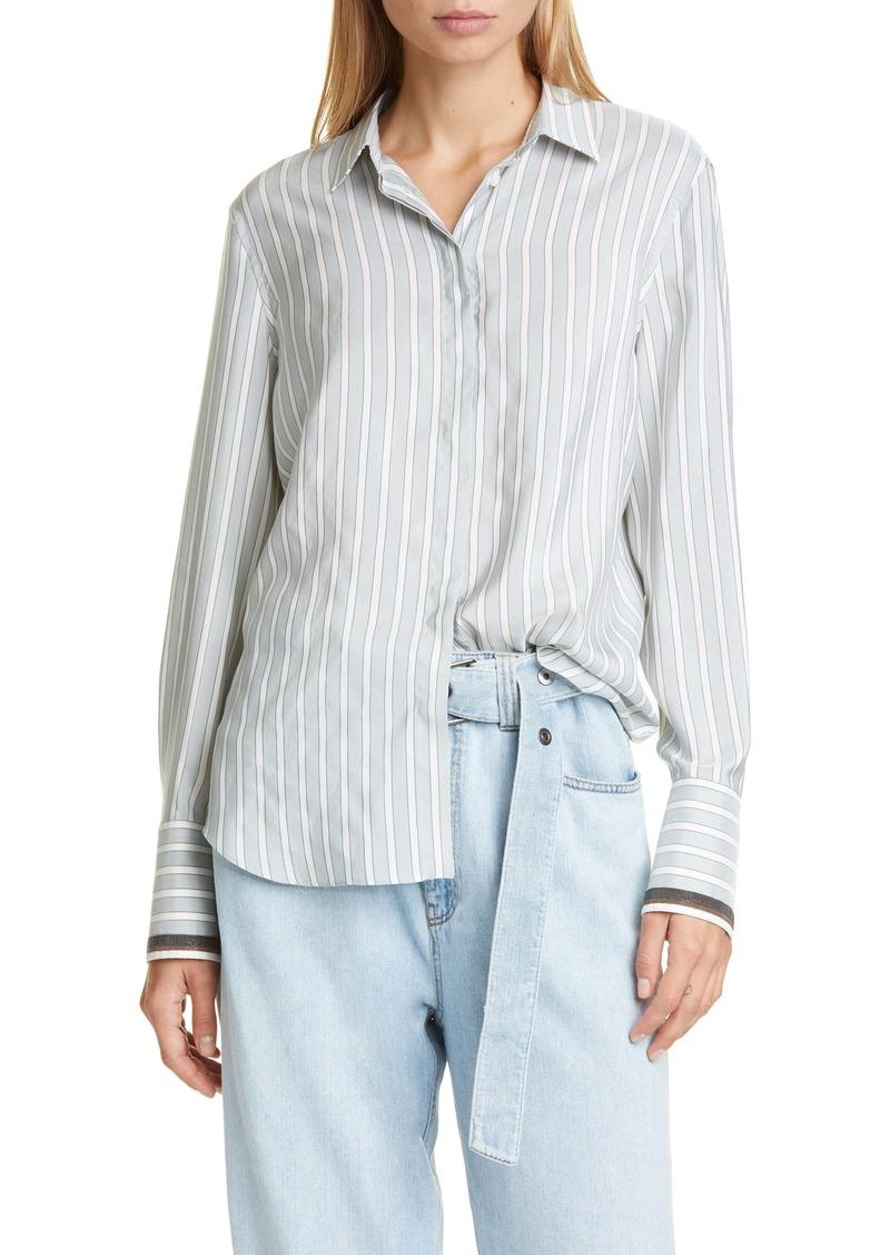 Brunello Cucinelli Brunello Cucinello Monili Cuff Stripe Silk Shirt