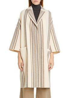 Brunello Cucinelli Blanket Stripe Wool & Cashmere Coat