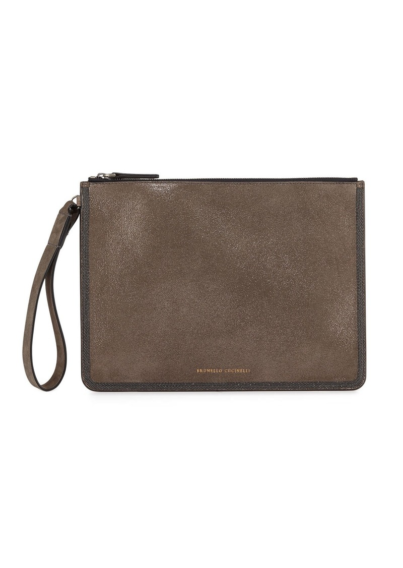 Brunello Cucinelli Brushed Leather Pouch Wallet with Monili Border