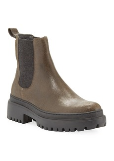 Brunello Cucinelli Buffed Leather Lug-Sole Booties with Cashmere Gore