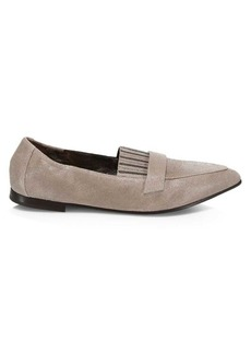 Brunello Cucinelli Buffered Leather Loafer Flats