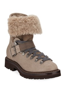 Brunello Cucinelli Buffered Leather Shearling Booties
