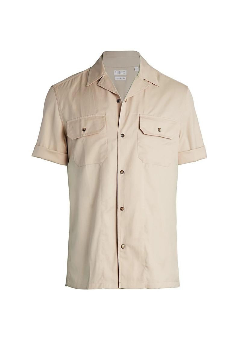 Brunello Cucinelli Camper Twill Button-Down Shirt