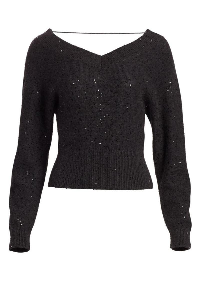 Brunello Cucinelli Cashmere & Silk Paillette Off-The-Shoulder Sweater