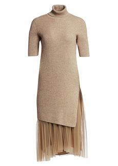 Brunello Cucinelli Cashmere & Tulle Lurex Midi Dress