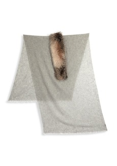 Brunello Cucinelli Cashmere and Fox Fur Trim Scarf