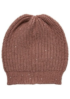 Brunello Cucinelli Cashmere Hat with Silk and Sequins