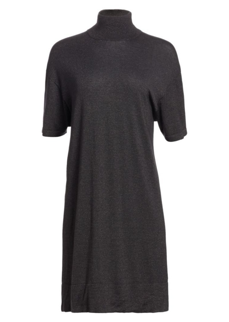 Brunello Cucinelli Cashmere, Silk & Lurex Turtleneck Dress