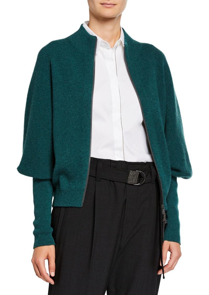 Brunello Cucinelli Cashmere Zip-Front Cardigan