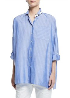 Brunello Cucinelli Chambray Button-Front Banded Collar Blouse