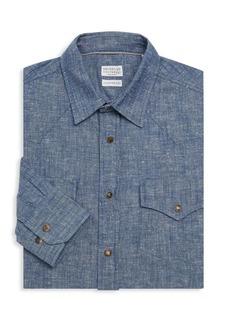 Brunello Cucinelli Chambray Snap Dress Shirt