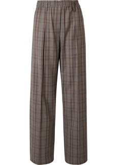 Brunello Cucinelli Checked Wool-crepe Wide-leg Pants