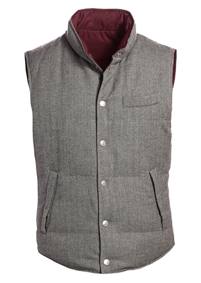Brunello Cucinelli Chevron Reversible Padded Wool Cashmere Vest