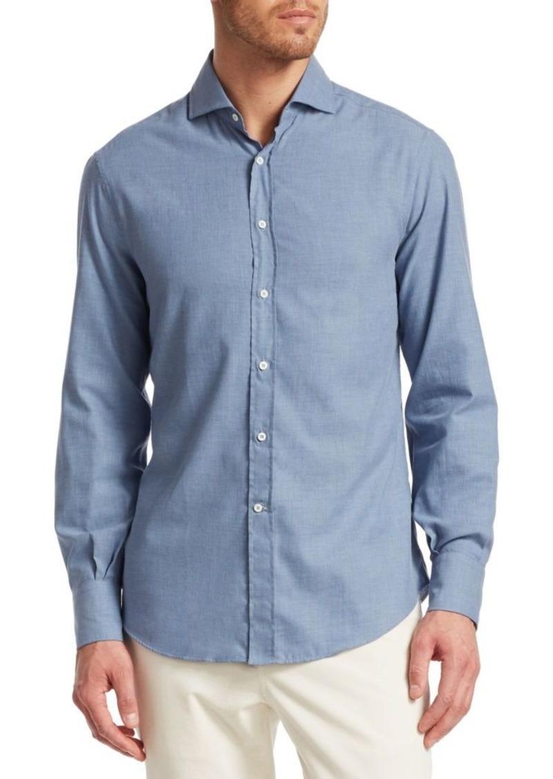 Brunello Cucinelli Chevron Twill Cotton Shirt