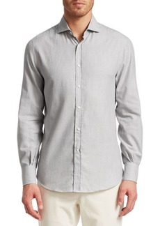 Brunello Cucinelli Chevron Twill Cotton Shirt