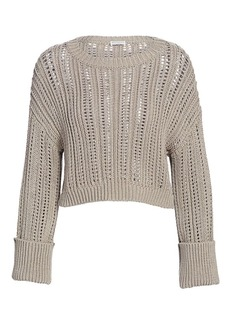 Brunello Cucinelli Chunky Open-Weave Cropped Sweater