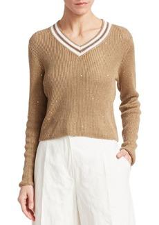 Brunello Cucinelli Contrast Linen & Silk Paillette V-Neck Sweater