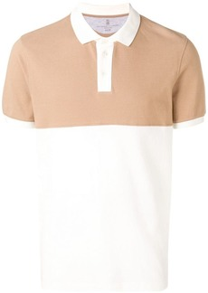 Brunello Cucinelli contrast panels polo shirt